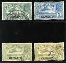 Kuwait 1933 KGV Air Stamps set complete very fine used. SG 31-34. Sc C1-C4.