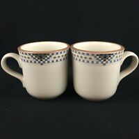 Set of 2 Vintage Coffee Mugs by Noritake Stoneware Sedona Squares Diamonds 8481