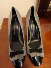 ROBERT ROBERT grey suede and black patent leather heels Sz 39 8cm heels New