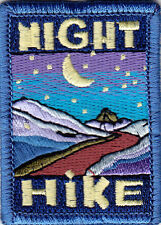 """NIGHT HIKE"" PATCH - SPORTS - HIKING - OUTDOORS -IRON ON EMBROIDERED APPLIQUE"