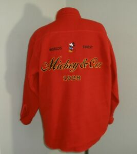 VTG Mens XL The Disney Store Mickey Mouse & Company Since 1928 Red FLEECE Shirt