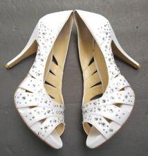 💜 GIANNI BINI 💜  9.5 WHITE SPARKLE RHINESTONE HEELS WEDDING Club Stripper SHOE