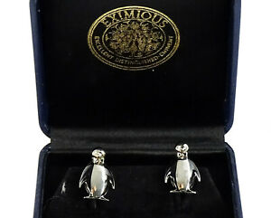 Eximious Penguin Cufflinks Black and Silvertone Figural Animal Cuff Links in Box