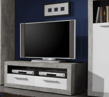 Greystone White Gloss and Grey Small TV Unit 120cm LCD Plasma TV Stand 2702