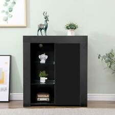 Stirling Black Gloss Sideboard Cabinet Cupboard Shelves Glass Door LED Light