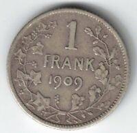 BELGIUM 1909 ONE FRANK FRANC LEOPOLD II DER BELGEN .835 SILVER COIN