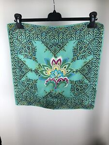 Etro Green Floral Print Silk Pocket Square Scarf
