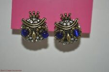 Betsey Johnson Woodland Large Crystal Owl Stud Earrings Blue/Gold/Silver NWT $30
