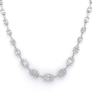 """3.73 TCW Baguette & Round Diamonds Tennis Necklace In 14k White Gold Size 16 """""""