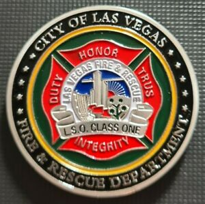 CITY OF LAS VEGAS FIRE & RESCUE Challenge Coin FREE COIN STAND AND BRAND NEW FI