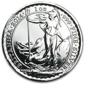 2014 1 oz Silver Britannia BU in Capsule