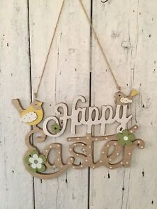 Super Cute Decorative Happy Easter Wooden Hanging Plaque Sign Birds & Chicks