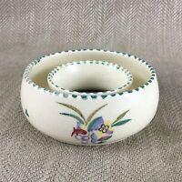 Poole Ceramiche Anello Ciotola Piatto Dipinto a Mano Firmato Vintage Insolito A