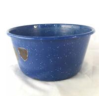 """Vintage Blue Speckled Rustic Enamel Bowl / Dog Dish Camping Cabin 6"""" X 3"""""""