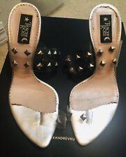 TRACEY ROSS PVC Silver Studs Toe Heels Sandals Sz 38.5