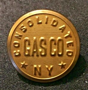 """Vintage Uniform Button Gold Tone Metal Consolidated Gas Co NY 7/8"""" Waterbury"""
