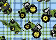 JOHN DEERE TRACTOR ON PLAID  FARM  SPRINGS CREATIVE  100% COTTON FABRIC  YARDAGE