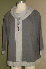 Womens Jones New York Shirt XL Gray Cowl Neck Sport Line O02