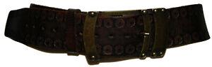SEDUCE Dark Brown Genuine Leather Stamped Belt Size Small 79cm-95cm