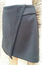 Topshop BNWT Negro Lazer Cut Scuba Falda Corta Talla 8 RRP £ 45
