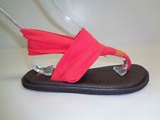 Sanuk Size 8 YOGA SLING 2 Coral Fabric Thong Slingbacks Sandals New Womens Shoes