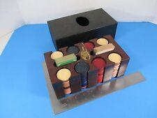 Vintage Poker Chips Carrier Wooden Rack & Cardholder Bakelite? With Lid VS15