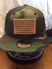 New Era NE400 Camo Camouflage Snapback Hat/Cap W/ Brown Tan American Flag Patch
