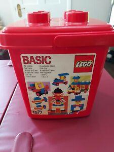Vintage red Lego/duplo retro brick bucket with handle Good  condition no bricks