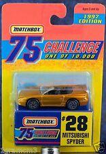 Matchbox MB 28 Mitsubishi Spyder Gold Challenge 1997 Mint On Card