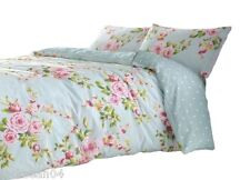 SUPERB COTTON DOUBLE PINK BLUE ROSE FLORAL REVERSIBLE SHABBY DUVET CHIC SET