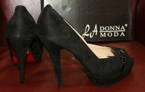 LA Donna Moda Nero Black Suede Stiletto Heels Platform Shiny Black Buckle