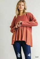 Umgee Mineral Washed French Terry Knit Frayed Detail Top