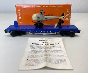 Original Lionel 3419 Operating Helicopter Car with Original Box and Instructions