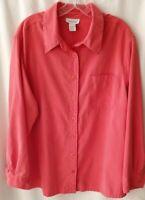 Women's Avenue Button Down Long Sleeve Top  Plus Size 18/20 moleskin polyester