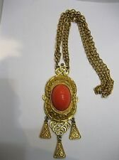 Vintage Signed Donald Stannard Couture Runway Coral Cabachon Gold Tone Necklace