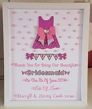 Personalised Framed Bridesmaid/Flower Girl Dress Thank You Gift/Wedding Favour