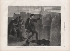 OLD ANTIQUE 1874 PRINT MR IRVING AS HAMLET AT THE LYCEUM THEATRE LONDON b140