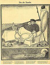 1915 Karl Arnold Kriegsflugblatt * Der alte Suender *  WW1