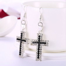 Platinum Plated CZ Crystal Holy Cross Drop Dangle Womens Charm Earrings #E120