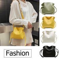 Shoulder Messenger Handbags Casual Women Leather Small Drawstring Crossbody Bag