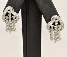 14K WHITE GOLD DIAMOND DANGLE TENNIS EARRINGS