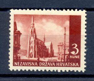 YUGOSLAVIA KROATIA  HRVATSKA  MI# 53 U * VF -ERROR =WHITE POINT NEAR 3 =