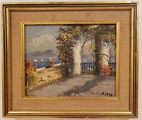 "Oil Painting on Board Outdoor Garden Signed Framed Art  (9"" x 10"")"
