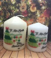 Personalised Christmas Teacher Teacher's Assistant Thank you Candle Gift