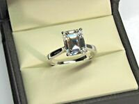 Diamond Engagement Wedding Ring 14K Emerald Cut White Gold 2.50 Ct Size P 1/2