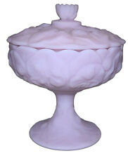 Fenton Lavender Satin Water Lily Footed Candy Dish / Box