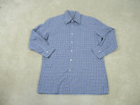 Canali Button Up Shirt Adult Large Gray Blue Long Sleeve Cotton Casual Mens A04