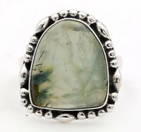 Natural  Moss Prehnite 925 Solid Sterling Silver Ring Jewelry Sz 7, ED30-5