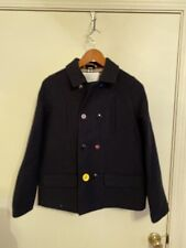 BURBERRY Boys Lloyd Pea Coat Kids 14y Navy $650 Nova Check Lining