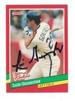 Luis Gonzalez AUTOGRAPH 1991 DONRUSS BASEBALL ROOKIE CARD SIGNED HOUSTON ASTROS